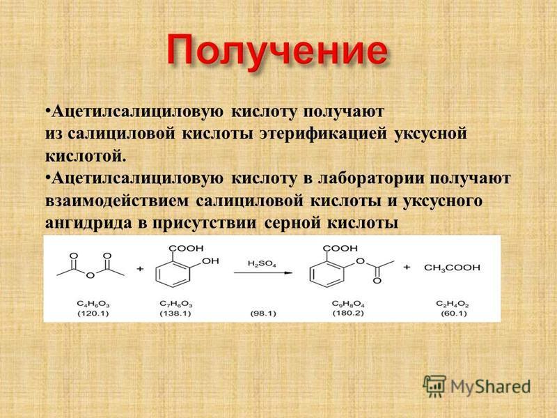 Ацетилсалициловую кислоту получают из салициловой кислоты этерификацией уксусной кислотой. Ацетилсалициловую кислоту в лаборатории получают взаимодействием салициловой кислоты и уксусного ангидрида в присутствии серной кислоты