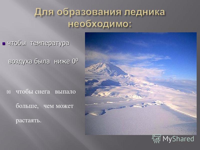 чтобы снега выпало больше, чем может растаять. чтобы температура воздуха была ниже 00000000