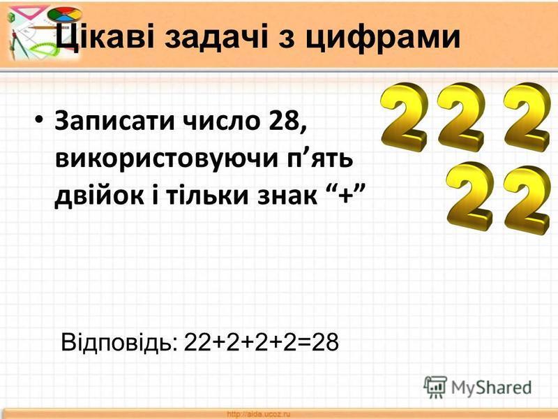 Цікаві задачі з цифрами Записати число 28, використовуючи пять двійок і тільки знак + Відповідь: 22+2+2+2=28