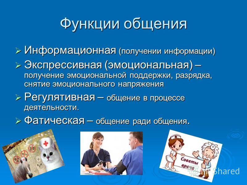 Функции общения Информационная (получении информации) Информационная (получении информации) Экспрессивная (эмоциональная) – получение эмоциональной поддержки, разрядка, снятие эмоционального напряжения Экспрессивная (эмоциональная) – получение эмоцио