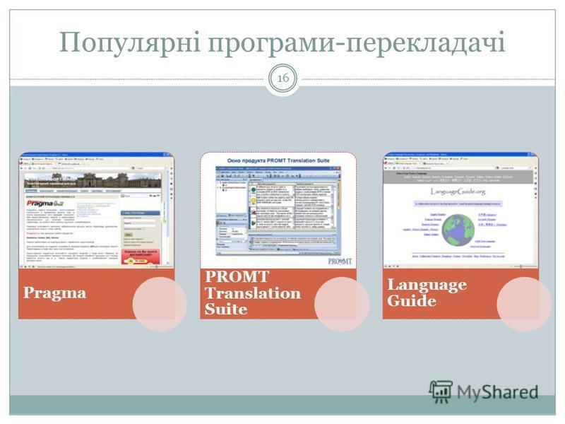 Популярні програми-перекладачі 16 Pragma PROMT Translation Suite Language Guide