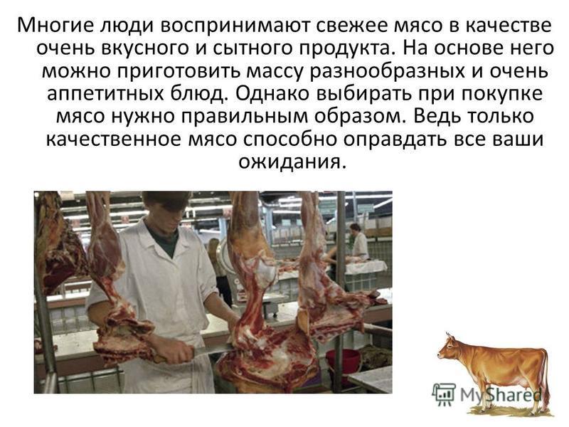 Многие люди воспринимают свежее мясо в качестве очень вкусного и сытного продукта. На основе него можно приготовить массу разнообразных и очень аппетитных блюд. Однако выбирать при покупке мясо нужно правильным образом. Ведь только качественное мясо