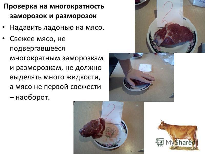 Проверка на многократность заморозок и разморозок Надавить ладонью на мясо. Свежее мясо, не подвергавшееся многократным заморозкам и разморозкам, не должно выделять много жидкости, а мясо не первой свежести – наоборот.