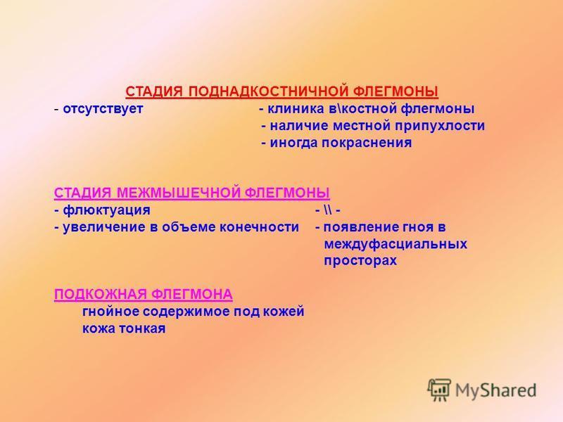 СТАДИЯ ПОДНАДКОСТНИЧНОЙ ФЛЕГМОНЫ - отсутствует - клиника в\костной флегмоны - наличие местной припухлости - иногда покраснения СТАДИЯ МЕЖМЫШЕЧНОЙ ФЛЕГМОНЫ - флюктуация - \\ - - увеличение в объеме конечности - появление гноя в междуфасциальных просто