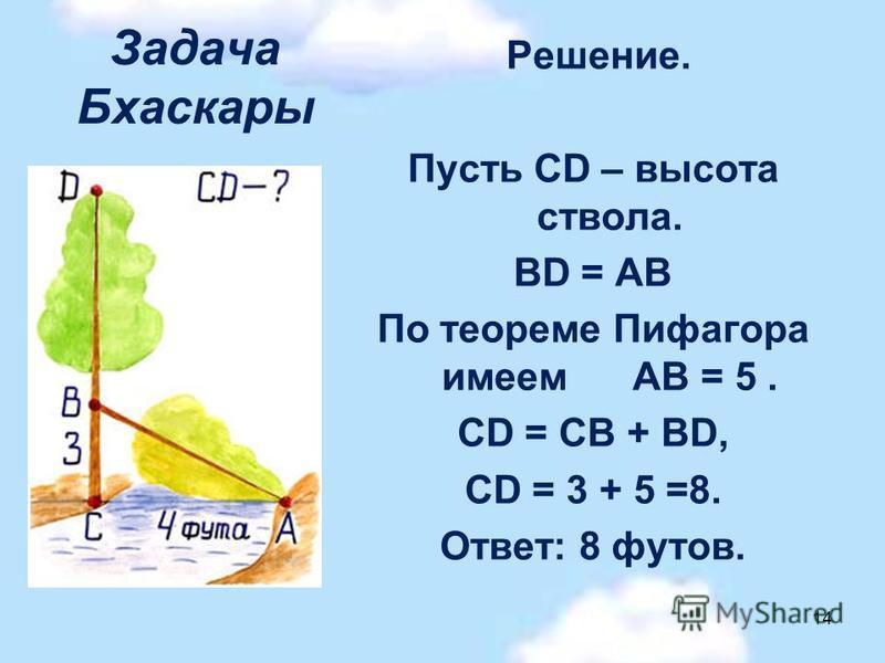 Задача Бхаскары Решение. Пусть CD – высота ствола. BD = АВ По теореме Пифагора имеем АВ = 5. CD = CB + BD, CD = 3 + 5 =8. Ответ: 8 футов. 14