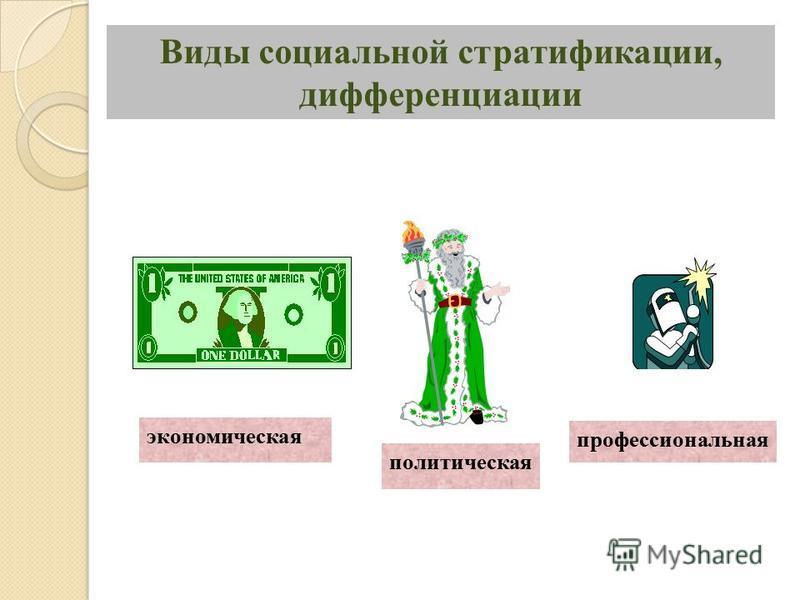 Виды социальной стратификации, дифференциации экономическая политическая профессиональная