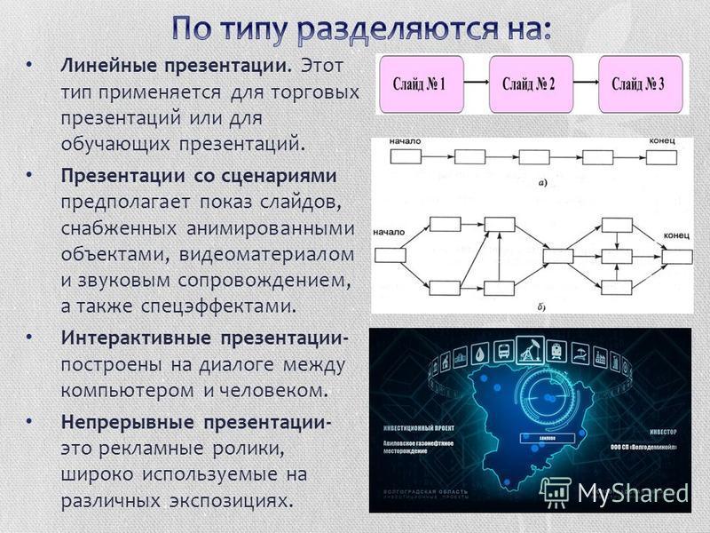 Линейные презентации. Этот тип применяется для торговых презентаций или для обучающих презентаций. Презентации со сценариями предполагает показ слайдов, снабженных анимированными объектами, видеоматериалом и звуковым сопровождением, а также спецэффек