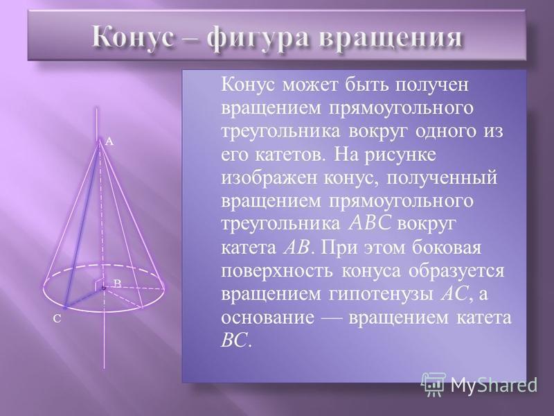 Тело, ограниченное конической поверхностью и кругом с границей L, называется конусом. Круг называется основанием конуса, вершина конической поверхности вершиной конуса, отрезки образующих, заключенные между вершиной и основанием, образующими конуса,