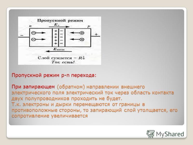 Пропускной режим р-n перехода: При запирающем (обратном) направлении внешнего электрического поля электрический ток через область контакта двух полупроводников проходить не будет. Т.к. электроны и дырки перемещаются от границы в противоположные сторо