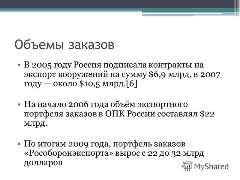 Объемы заказов В 2005 году Россия подписала контракты на экспорт вооружений на сумму $6,9 млрд, в 2007 году около $10,5 млрд.[6] На начало 2006 года объём экспортного портфеля заказов в ОПК России составлял $22 млрд. По итогам 2009 года, портфель зак