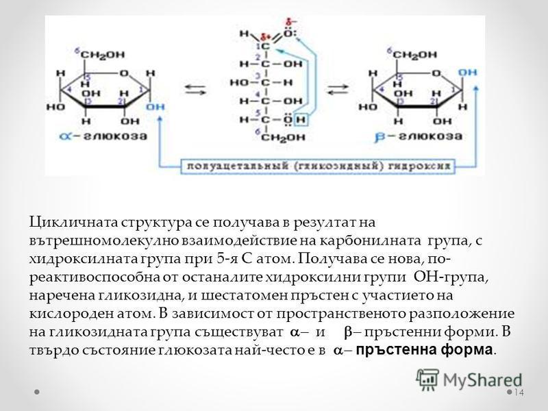 Цикличната структура се получава в резултат на вътрешномолекулно взаимодействие на карбонилната група, с хидроксилната група при 5-я С атом. Получава се нова, по- реактивоспособна от останалите хидроксилни групи ОН-група, наречена гликозидна, и шеста