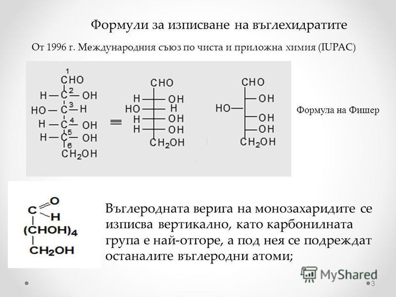 Формули за изписване на въглехидратите От 1996 г. Международния съюз по чиста и приложна химия (IUPAC) Формула на Фишер Въглеродната верига на монозахаридите се изписва вертикално, като карбонилната група е най-отгоре, а под нея се подреждат останали