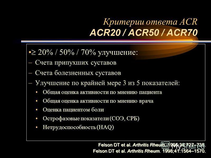 Критерии ответа ACR ACR20 / ACR50 / ACR70 20% / 50% / 70% улучшение: –Счета припухших суставов –Счета болезненных суставов –Улучшение по крайней мере 3 из 5 показателей: Общая оценка активности по мнению пациента Общая оценка активности по мнению вра
