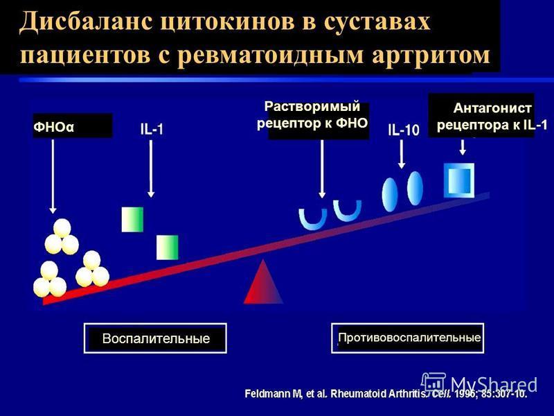Дисбаланс цитокинов в суставах пациентов с ревматоидным артритом Воспалительные Противовоспалительные ФНОα Растворимый рецептор к ФНО Антагонист рецептора к IL-1