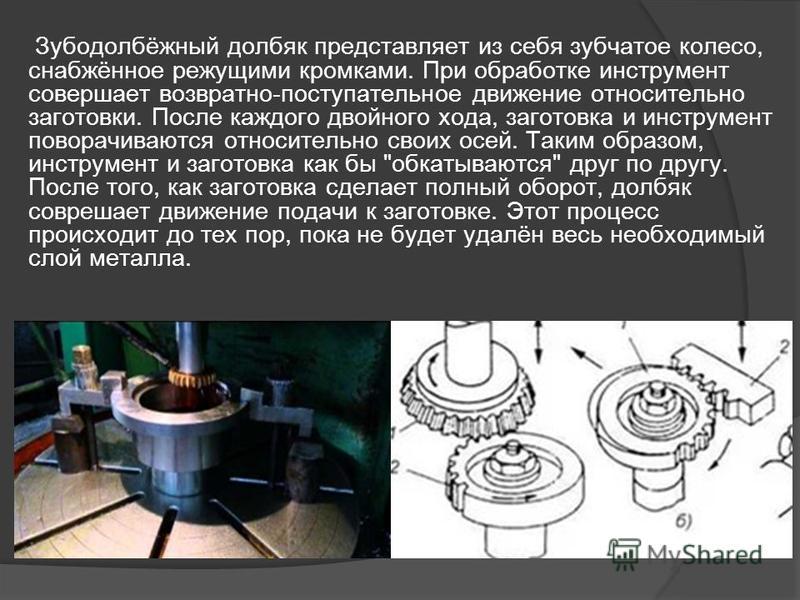 Зубодолбёжный долбяк представляет из себя зубчатое колесо, снабжённое режущими кромками. При обработке инструмент совершает возвратно-поступательное движение относительно заготовки. После каждого двойного хода, заготовка и инструмент поворачиваются о