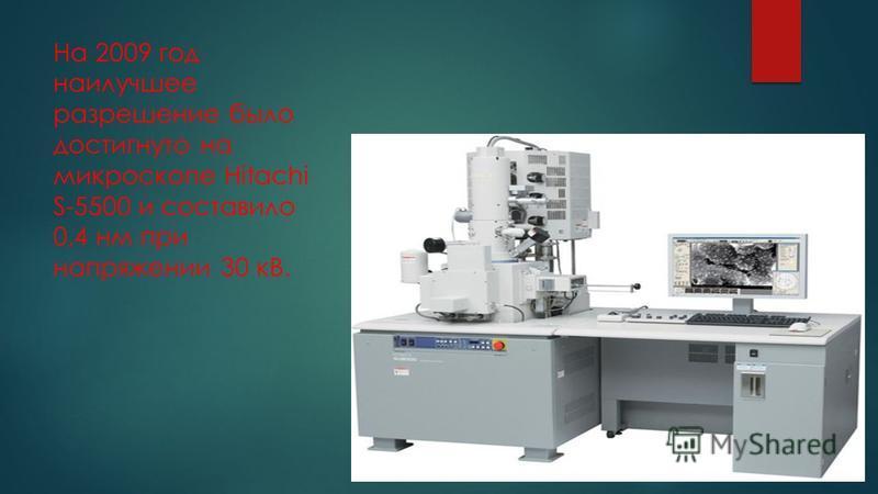 На 2009 год наилучшее разрешение было достигнуто на микроскопе Hitachi S-5500 и составило 0,4 нм при напряжении 30 кВ.