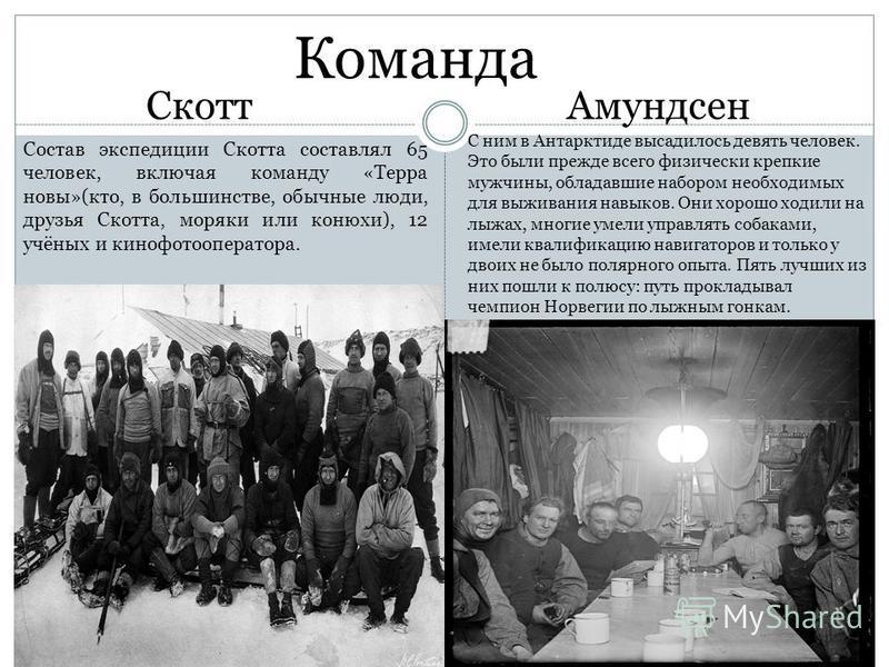 Команда Скотт Амундсен Состав экспедиции Скотта составлял 65 человек, включая команду «Терра новы»(кто, в большинстве, обычные люди, друзья Скотта, моряки или конюхи), 12 учёных и кино фото оператора. С ним в Антарктиде высадилось девять человек. Это