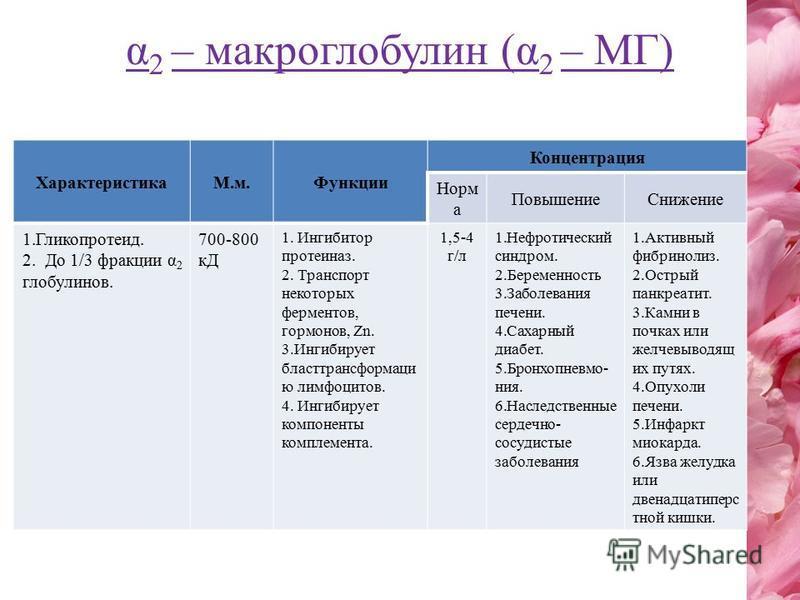α 2 – макроглобулин (α 2 – МГ) ХарактеристикаМ.м.Функции Концентрация Норм а Повышение Снижение 1.Гликопротеид. 2. До 1/3 фракции α 2 глобулинов. 700-800 кД 1. Ингибитор протеиназ. 2. Транспорт некоторых ферментов, гормонов, Zn. 3. Ингибирует бласттр