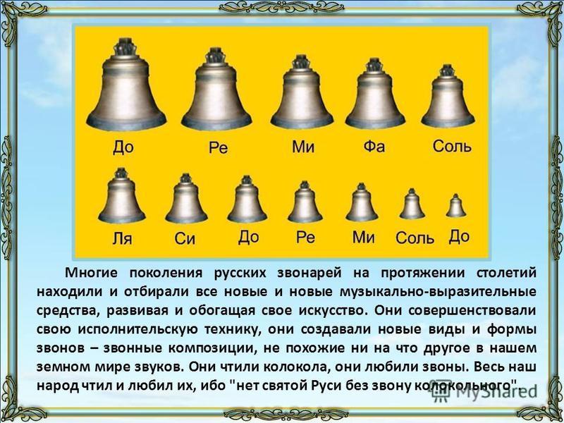 Многие поколения русских звонарей на протяжении столетий находили и отбирали все новые и новые музыкально-выразительные средства, развивая и обогащая свое искусство. Они совершенствовали свою исполнительскую технику, они создавали новые виды и формы