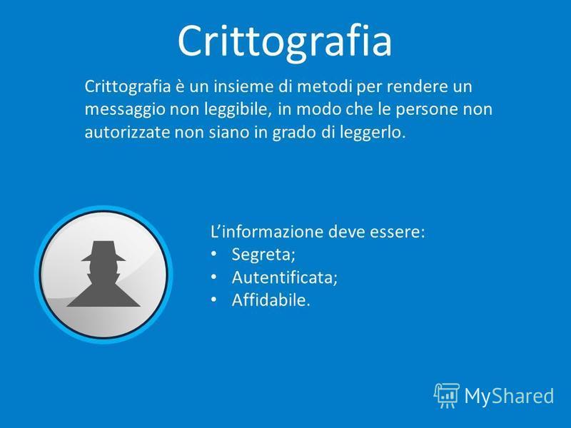 Crittografia è un insieme di metodi per rendere un messaggio non leggibile, in modo che le persone non autorizzate non siano in grado di leggerlo. Linformazione deve essere: Segreta; Autentificata; Affidabile.