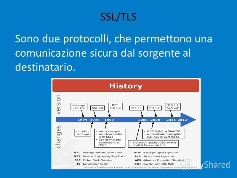 SSL/TLS Sono due protocolli, che permettono una comunicazione sicura dal sorgente al destinatario.