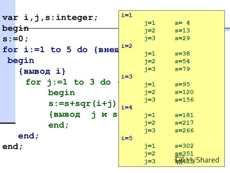 30 var i,j,s:integer; begin s:=0; for i:=1 to 5 do {внешний цикл} begin {вывод i} for j:=1 to 3 do { внутренний цикл } begin s:=s+sqr(i+j); {вывод j и s} end; i=1 j=1 s= 4 j=2 s=13 j=3 s=29 i=2 j=1 s=38 j=2 s=54 j=3 s=79 i=3 j=1 s=95 j=2 s=120 j=3 s=