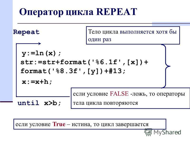8 Оператор цикла REPEAT Repeat y:=ln(x); str:=str+format('%6.1f',[x])+ format('%8.3f',[y])+#13; x:=x+h; until x>b; Тело цикла выполняется хотя бы один раз если условие FALSE -ложь, то операторы тела цикла повторяются если условие True – истина, то ци