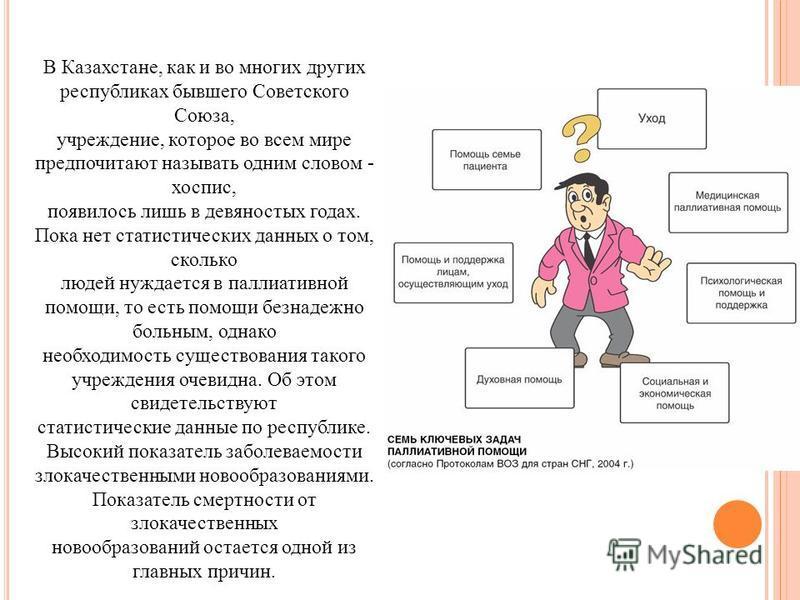 В Казахстане, как и во многих других республиках бывшего Советского Союза, учреждение, которое во всем мире предпочитают называть одним словом - хоспис, появилось лишь в девяностых годах. Пока нет статистических данных о том, сколько людей нуждается