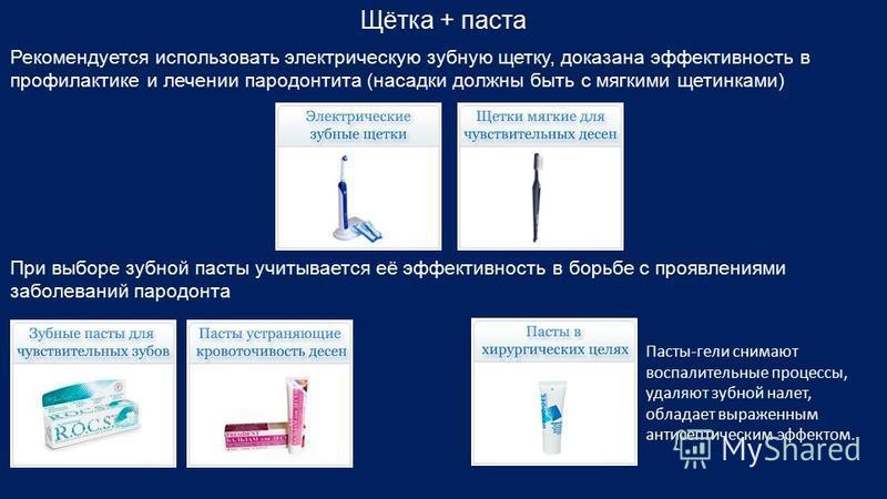 Щётка + паста Рекомендуется использовать электрическую зубную щетку, доказана эффективность в профилактике и лечении пародонтита (насадки должны быть с мягкими щетинками) При выборе зубной пасты учитывается её эффективность в борьбе с проявлениями за