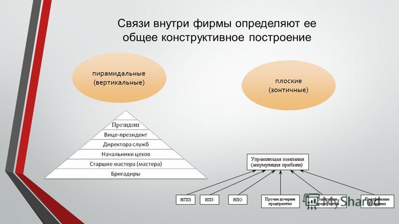 Связи внутри фирмы определяют ее общее конструктивное построение пирамидальные (вертикальные) плоские (зонтичные)