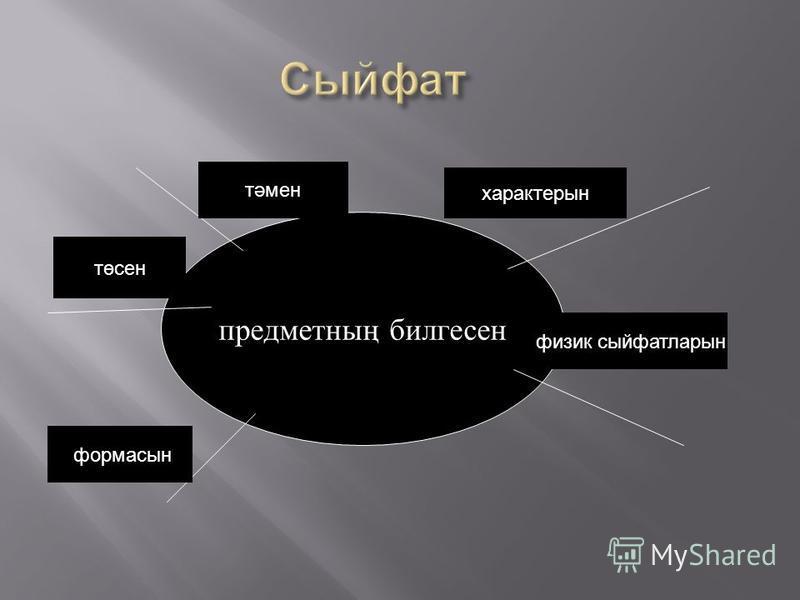предметның билгесен характерын физик сыйфатларын формасын төсен тәмен