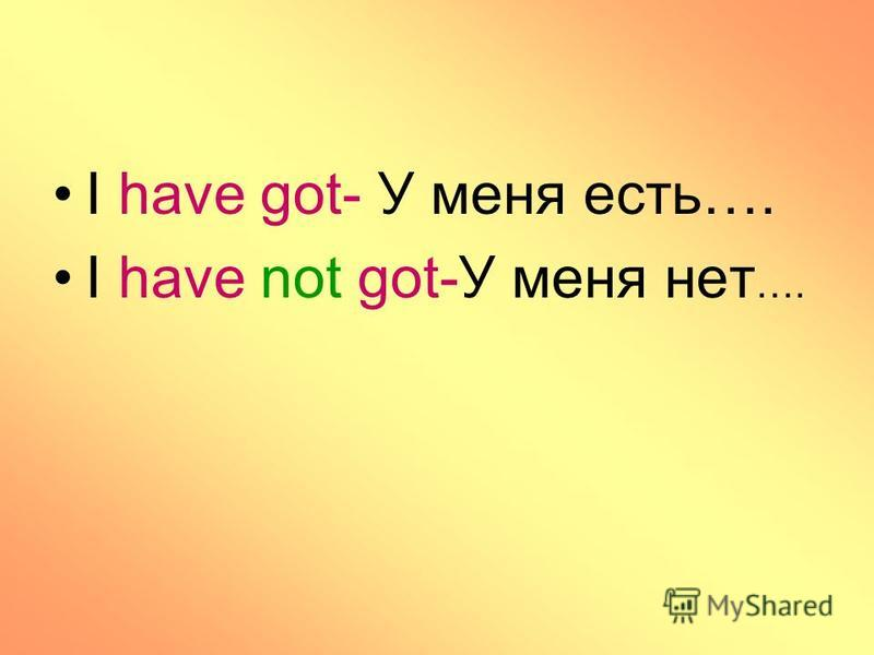 I have got- У меня есть…. I have not got-У меня нет ….