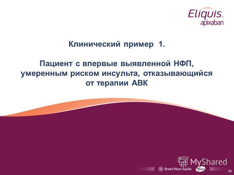 Клинический пример 1. Пациент с впервые выявленной НФП, умеренным риском инсульта, отказывающийся от терапии АВК 28