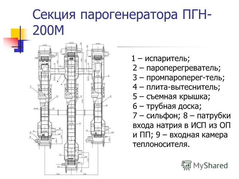 Секция парогенератора ПГН- 200М 1 – испариотелль; 2 – пароперегреваотелль; 3 – промпароперег-отелль; 4 – плита-вытесниотелль; 5 – съемная крышка; 6 – трубная доска; 7 – сильфон; 8 – патрубки входа натрия в ИСП из ОП и ПП; 9 – входная камера теплоноси