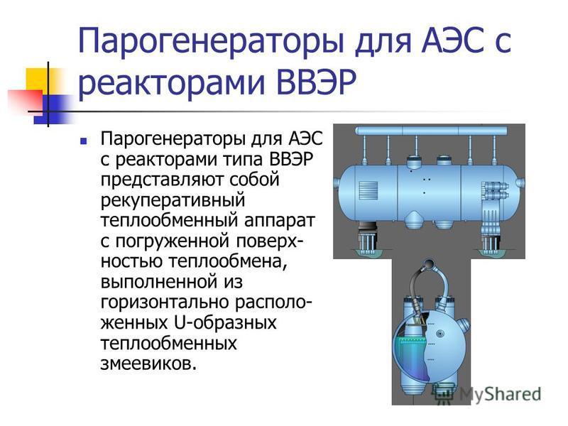 Парогенераторы для АЭС с реакторами ВВЭР Парогенераторы для АЭС с реакторами типа ВВЭР представляют собой рекуперативный теплообменный аппарат с погруженной поверхностью теплообмена, выполненной из горизонтально расположенных U-образных теплообменных