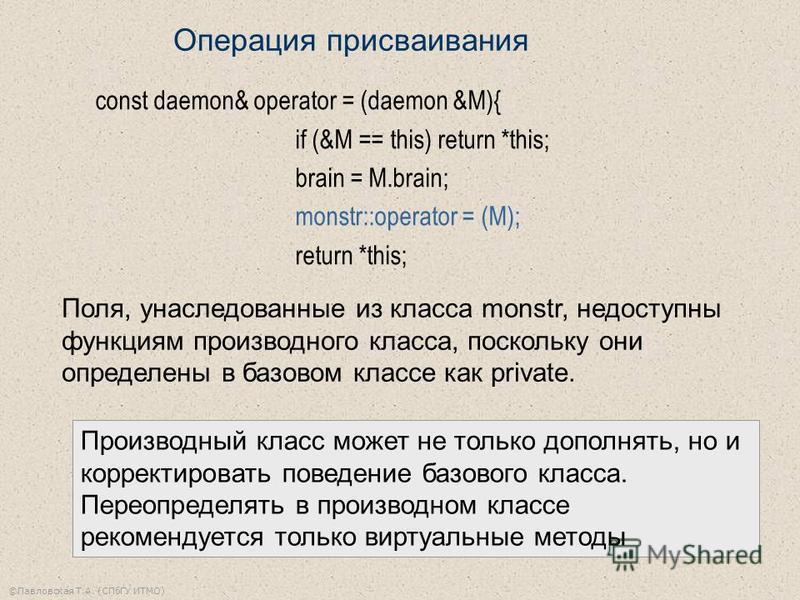 ©Павловская Т.А. (СПбГУ ИТМО) const daemon& operator = (daemon &M){ if (&M == this) return *this; brain = M.brain; monstr::operator = (M); return *this; Поля, унаследованные из класса monstr, недоступны функциям производного класса, поскольку они опр
