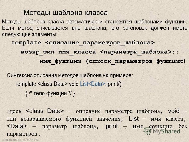 ©Павловская Т.А. (СПбГУ ИТМО) Cинтаксис описания методов шаблона на примере: template void List ::print() { /* тело функции */ } Здесь описание параметра шаблона, void тип возвращаемого функцией значения, List имя класса, параметр шаблона, print имя