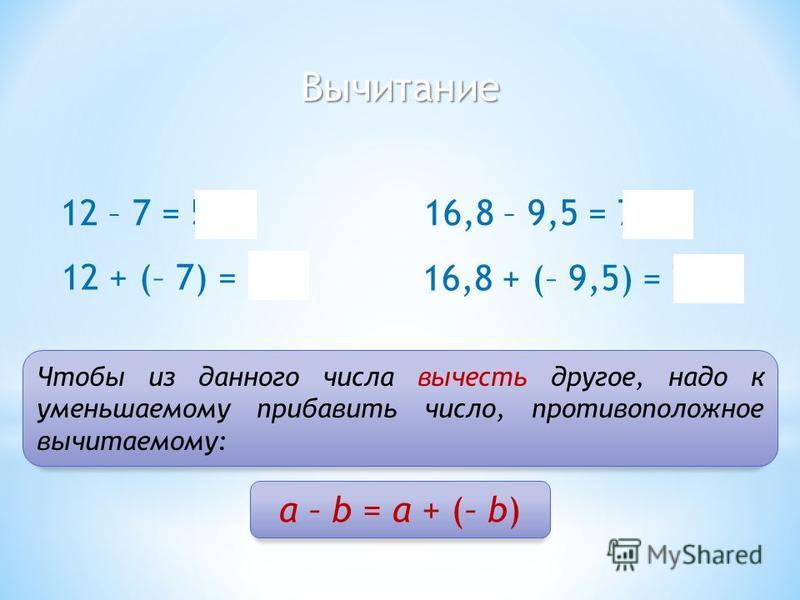 Вычитание 12 – 7 = 5 Чтобы из данного числа вычесть другое, надо к уменьшаемому прибавить число, противоположное вычитаемому: 12 + (– 7) = 5 16,8 – 9,5 = 7,3 16,8 + (– 9,5) = 7,3 а – b = а + (– b)