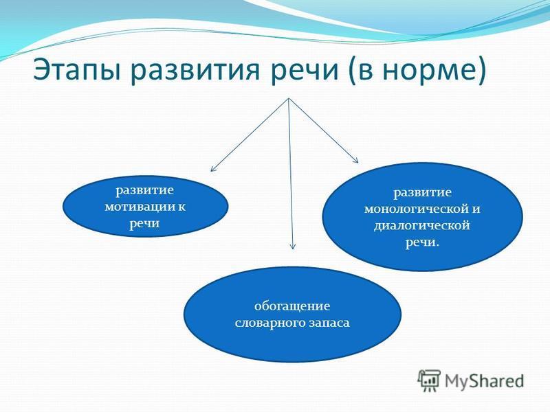Этапы развития речи (в норме) развитие мотивации к речи обогащение словарного запаса развитие монологической и диалогической речи.