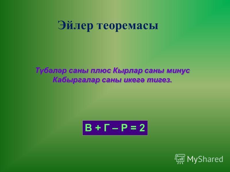 Эйлер теоремасы Түбәләр саны плюс Кырлар саны минус Кабыргалар саны икегә тигез. Түбәләр саны плюс Кырлар саны минус Кабыргалар саны икегә тигез. В + Г – Р = 2