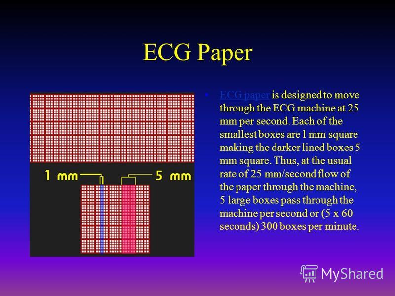 ECG Paper ECG paper is designed to move through the ECG machine at 25 mm per second. Each of the smallest boxes are l mm square making the darker lined boxes 5 mm square. Thus, at the usual rate of 25 mm/second flow of the paper through the machine,