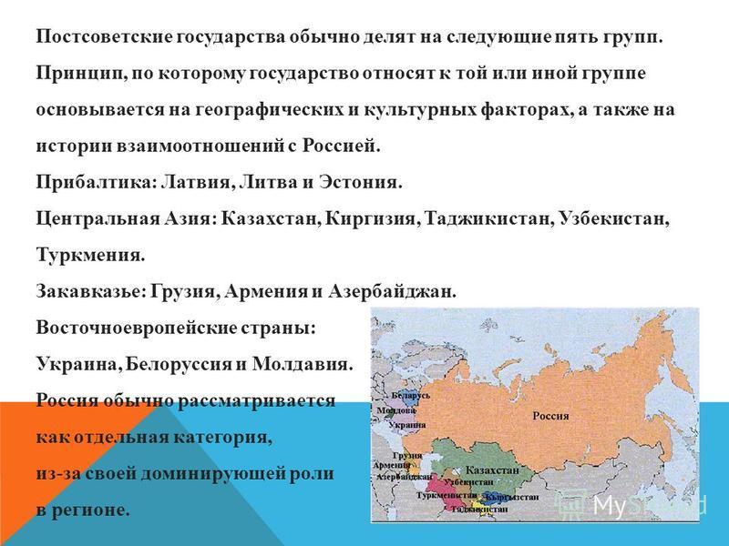 Постсоветские государства обычно делят на следующие пять групп. Принцип, по которому государство относят к той или иной группе основывается на географических и культурных факторах, а также на истории взаимоотношений с Россией. Прибалтика: Латвия, Лит
