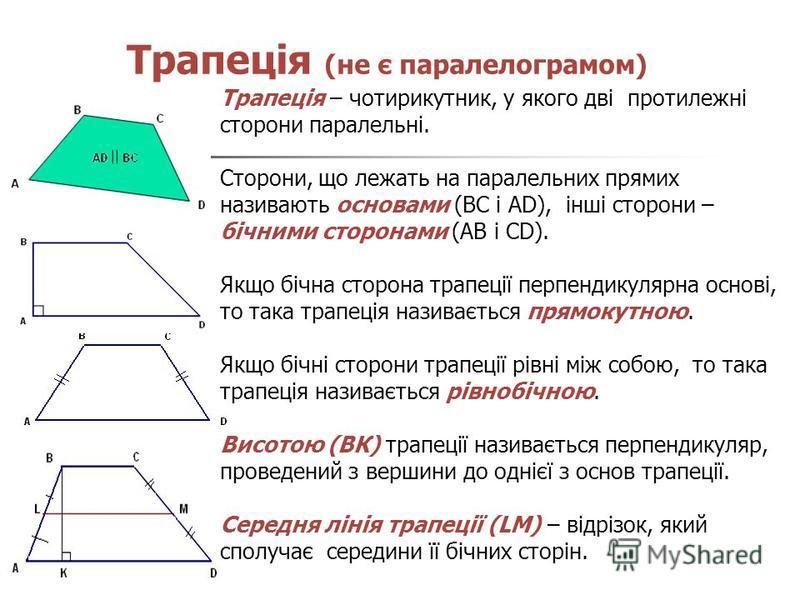 Трапеція (не є паралелограмом) Трапеція – чотирикутник, у якого дві протилежні сторони паралельні. Сторони, що лежать на паралельних прямих називають основами (BC і AD), інші сторони – бічними сторонами (AB і CD). Якщо бічна сторона трапеції перпенди