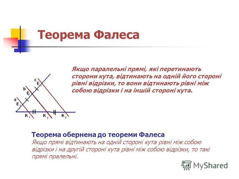Теорема Фалеса Якщо паралельні прямі, які перетинають сторони кута, відтинають на одній його стороні рівні відрізки, то вони відтинають рівні між собою відрізки і на іншій стороні кута. Теорема обернена до теореми Фалеса Якщо прямі відтинають на одні