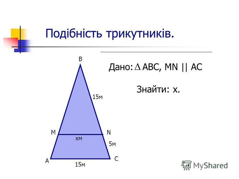 Подібність трикутників. Дано: АВС, MN || AC Знайти: х. А М В 15м 5м N C 15м хм