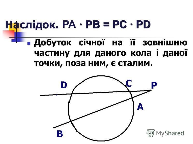 Наслідок. Добуток січної на її зовнішню частину для даного кола і даної точки, поза ним, є сталим. · РВ = РС · РD РА · РВ = РС · РD