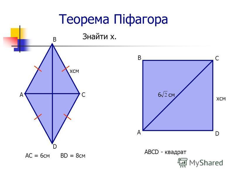 Теорема Піфагора Знайти х. ABCD - квадрат В С хсм 6 см D А B хсм ВD = 8смАС = 6см СА D