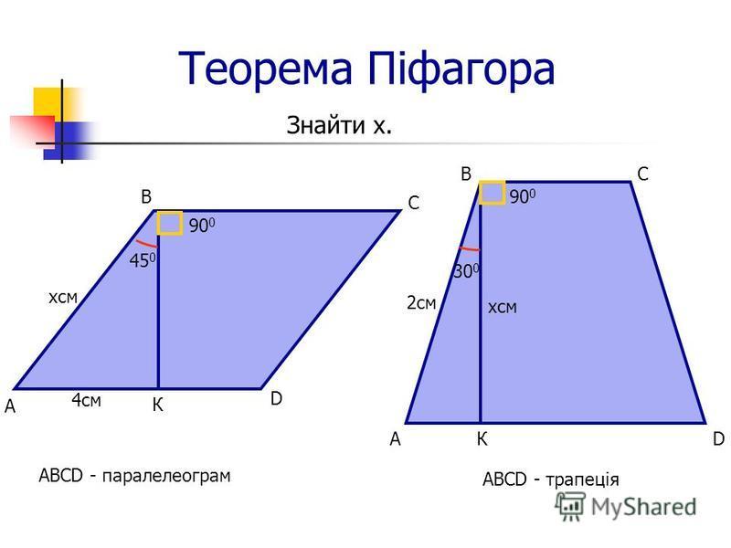Теорема Піфагора Знайти х. ABCD - паралелеограм D А В С К 90 0 45 0 4см хсм ABCD - трапеція DА ВС К 2см 90 0 хсм 30 0