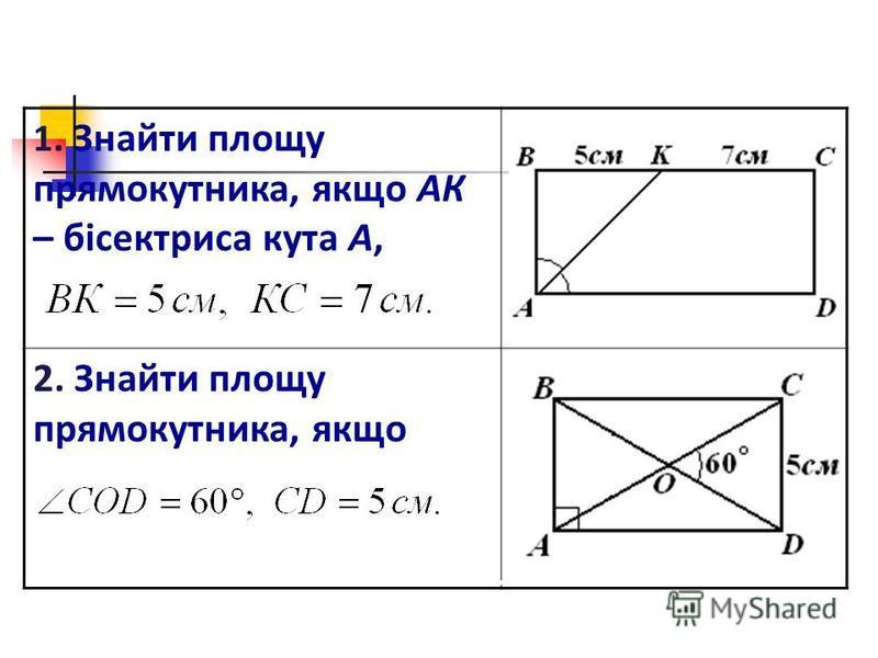 1. Знайти площу прямокутника, якщо АК – бісектриса кута А, 2. Знайти площу прямокутника, якщо
