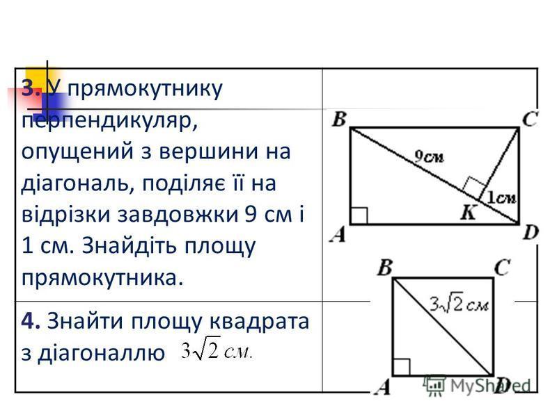 3. У прямокутнику перпендикуляр, опущений з вершини на діагональ, поділяє її на відрізки завдовжки 9 см і 1 см. Знайдіть площу прямокутника. 4. Знайти площу квадрата з діагоналлю